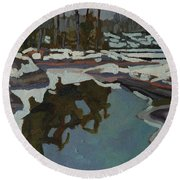 Jim Day Reflections Round Beach Towel