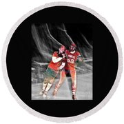Round Beach Towel featuring the photograph Jim Fitzpatrick Vs Charles Gipson Battling In Old School Roller Derby With The Sf Bay Bombers II by Jim Fitzpatrick