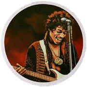 Jimi Hendrix Painting Round Beach Towel by Paul Meijering