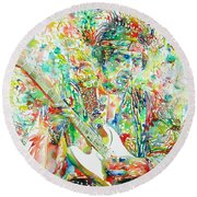 Jimi Hendrix Playing The Guitar Portrait.1 Round Beach Towel