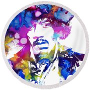 Jimi Hendrix - Psychedelic Round Beach Towel by Doc Braham