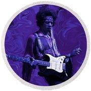 Jimi Hendrix Purple Haze Round Beach Towel by David Dehner