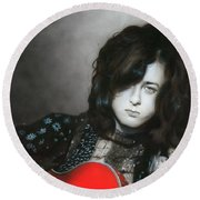 ' Jimmy Page ' Round Beach Towel by Christian Chapman Art