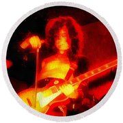 Jimmy Page On Fire Round Beach Towel by Dan Sproul