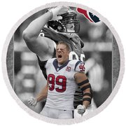 Jj Watt Texans Round Beach Towel