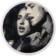 Joan Baez And Bob Dylan Round Beach Towel