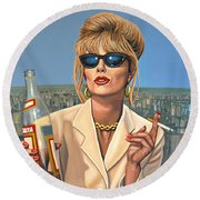 Joanna Lumley As Patsy Stone Round Beach Towel by Paul Meijering