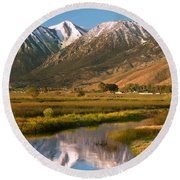 Job's Peak Reflections Round Beach Towel by James Eddy