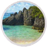 Round Beach Towel featuring the photograph Jobson Cove Beach by Verena Matthew