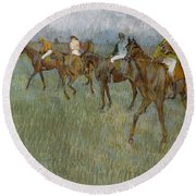 Jockeys In The Rain, 1886 Round Beach Towel