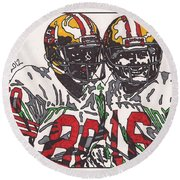 Joe Montana And Jerry Rice Round Beach Towel by Jeremiah Colley