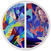 Round Beach Towel featuring the painting Joel And Andy by Joshua Morton