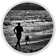 Joggin Wit Dad Round Beach Towel by Robert McCubbin