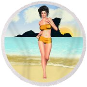 Jogging Miriam Round Beach Towel by Renate Janssen