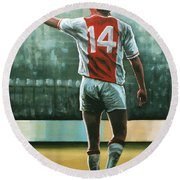 Johan Cruijff Nr 14 Painting Round Beach Towel by Paul Meijering