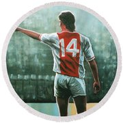 Johan Cruijff Nr 14 Painting Round Beach Towel