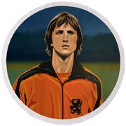 Johan Cruyff Oranje Round Beach Towel by Paul Meijering