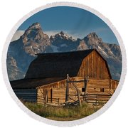 John And Bartha Moulton Barn Round Beach Towel by Jeff Goulden