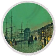John Atkinson Grimshaw Shipping On The Clyde 1881 Round Beach Towel