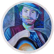 Round Beach Towel featuring the painting John Butler by Joshua Morton