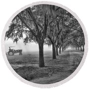John Deer Tractor And The Avenue Of Oaks Round Beach Towel