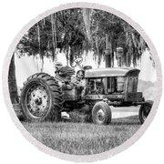 John Deer Tractor Under The Old Cedar Round Beach Towel