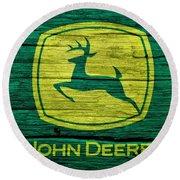 John Deere Barn Door Round Beach Towel by Dan Sproul