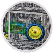 John Deere Green Round Beach Towel