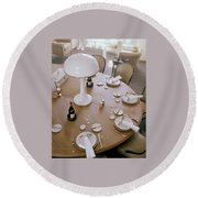 John Dickinson's Dining Table Round Beach Towel