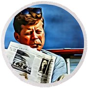 John F Kennedy Round Beach Towel