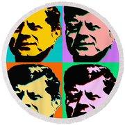 John F Kennedy - Jfk Pop Art Color Poster Round Beach Towel