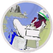 John Ford The Searchers Set Monument Valley Arizona 1955-2013 Round Beach Towel