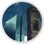 John Hancock Building First Baptist Church Boston Round Beach Towel