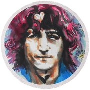 John Lennon..up Close Round Beach Towel