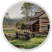 Round Beach Towel featuring the photograph John Oliver's Cabin In Spring. by Debbie Green