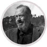 John Steinbeck Pebble Beach, Monterey, California 1960 Round Beach Towel