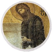 John The Baptist-detail Of Deesis Mosaic  Hagia Sophia-judgement Day Round Beach Towel