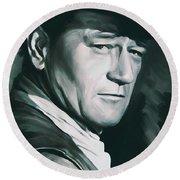 John Wayne Artwork Round Beach Towel by Sheraz A