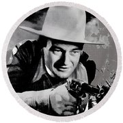 John Wayne Two-fisted Law  1932 Publicity Photo Round Beach Towel