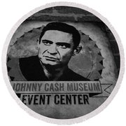 Johnny Cash Black And White Round Beach Towel by Dan Sproul