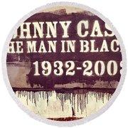 Johnny Cash Memorial Round Beach Towel by Dan Sproul