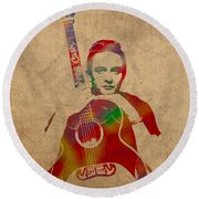 Johnny Cash Watercolor Portrait On Worn Distressed Canvas Round Beach Towel