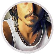 Johnny Depp Artwork Round Beach Towel by Sheraz A