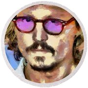 Round Beach Towel featuring the painting Johnny Depp Actor by Georgi Dimitrov