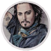 Johnny Depp Round Beach Towel by Melanie D