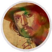 Johnny Depp Watercolor Portrait On Worn Distressed Canvas Round Beach Towel by Design Turnpike