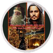 Johnny Depp Xmas Greeting Round Beach Towel