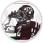 Johnny Manziel The Salute Round Beach Towel by Jeremiah Colley
