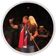 Johnny Van Zant Of Lynyrd Skynyrd Round Beach Towel