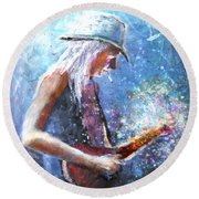 Johnny Winter Round Beach Towel